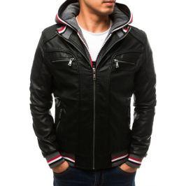 BASIC Pánská černá koženková bunda (tx2707) Velikost: M