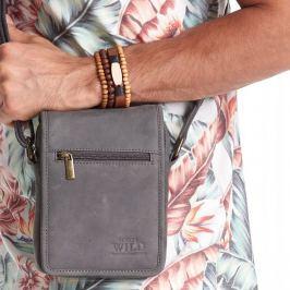 ALWAYS WILD Tmavě šedá kožená taška 504-TGH BLACK Velikost: univerzální