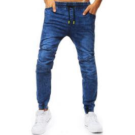 BASIC Modré jogger kalhoty se žlutými šňůrkami (ux2016) Velikost: M