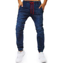 BASIC Modré jogger kalhoty s červenými šňůrkami (ux2021) Velikost: M