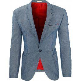 BASIC Pánské modré sako (mx0225) velikost: S, odstíny barev: modrá