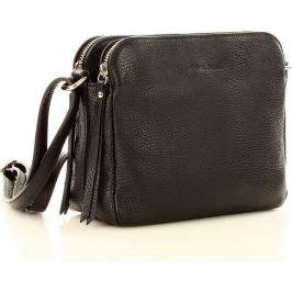 MARCO MAZZINI dvoukomorová kožená kabelka v barvě černá (l156a) Velikost: univerzální