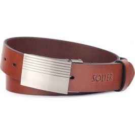 SOLIER Hnědý kožený pánský pásek ( SB12 DARK BROWN 110CM) Velikost: univerzální