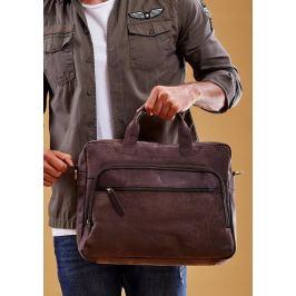 ALWAYS WILD Luxusní kožená taška na notebook LAP513 CBH BROWN Velikost: univerzální