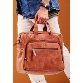 ALWAYS WILD Luxusní kožená taška na notebook LAP513 CBH COGNAC Velikost: univerzální