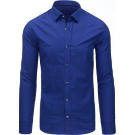 BASIC Pánská modrá košile s dlouhým rukávem (dx1370) velikost: 2XL, odstíny barev: modrá