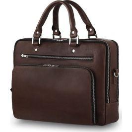 SOLIER Luxusní kožená taška na notebook (SL24 DARK BROWN) Velikost: univerzální