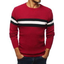 BASIC Červený svetr s proužky (wx1344) Velikost: M