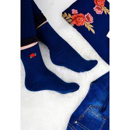 Modré ponožky  s květinou - NPX36 velikost: 35-38, odstíny barev: modrá