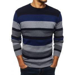 BASIC Pánský pruhovaný svetr - modrý (wx1329) Velikost: M