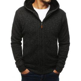 BASIC Tmavě šedý pánský svetr se zipem (wx1350) Velikost: L