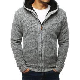 BASIC Šedý pánský svetr se zipem (wx1353) Velikost: L