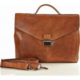 SERGIO LUX Hnědý kožený kancelářský kufr (t36a) velikost: univerzální, odstíny barev: hnědá