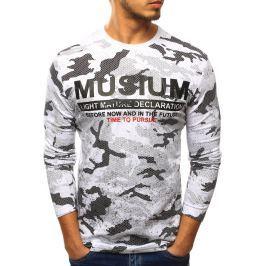 BASIC Pánské tričko s vojenským vzorem (lx0438) velikost: 2XL, odstíny barev: bílá