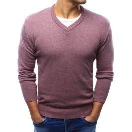 BASIC Pánský růžová svetr s výstřihem do V (wx0921) Velikost: L