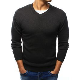 BASIC Pánský  tmavě šedý svetr s výstřihem do V (wx0922) velikost: XL, odstíny barev: šedá