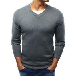 BASIC Pánský šedý svetr s výstřihem do V (wx0923) velikost: 2XL, odstíny barev: šedá