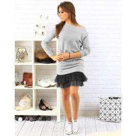 BASIC Dámská šedá volánová sukně (ey0225) velikost: univerzální, odstíny barev: šedá