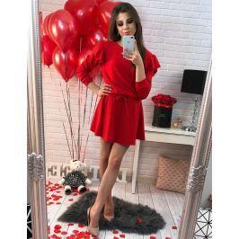 BASIC Červené šaty s volány (ey0223) velikost: univerzální, odstíny barev: červená