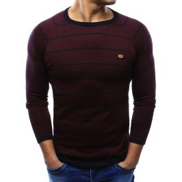 BASIC Bordó pánský svetr s proužky (wx0940) velikost: M, odstíny barev: červená