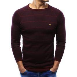BASIC Bordó pánský svetr s proužky (wx0943) velikost: M, odstíny barev: červená