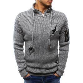 BASIC Pánský šedý svetr s dekorativními dírami(wx0944) velikost: M, odstíny barev: šedá