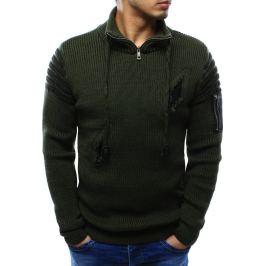 BASIC Pánský zelený svetr s dekorativními dírami (wx0946) Velikost: M
