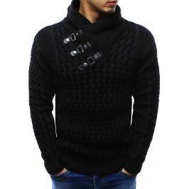 BASIC Černý pánský teplý svetr s ozdobnými přezkami (wx0964) velikost: M, odstíny barev: černá