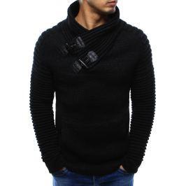 BASIC Černý pánský teplý svetr s ozdobnými přezkami (wx0968) velikost: 2XL, odstíny barev: černá