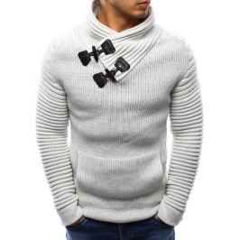 BASIC Bílý pánský teplý svetr s ozdobnými přezkami (wx0969) velikost: M, odstíny barev: bílá