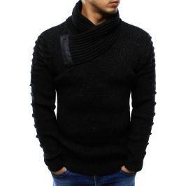 BASIC Pánský černý svetr s ozdobným límcem (wx0972) velikost: L, odstíny barev: černá