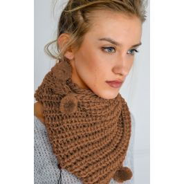 Dámská pletená šála v hnědé barvě (KOM14-41) velikost: univerzální, odstíny barev: hnědá