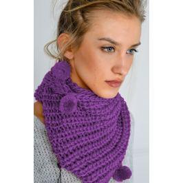 Dámská pletená šála ve fialové barvě (KOM14-15) velikost: univerzální, odstíny barev: fialová