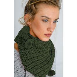 Dámská pletená šála v khaki barvě (KOM14-44) velikost: univerzální, odstíny barev: zelená