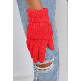 Zimní pletené rukavice v červené barvě (F05-61) velikost: univerzální, odstíny barev: červená