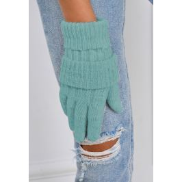 Zimní pletené rukavice v zelená barvě (F05-25) velikost: univerzální, odstíny barev: zelená