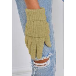 Zimní pletené rukavice v olivové barvě (F05-50) velikost: univerzální, odstíny barev: zelená