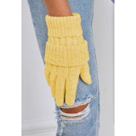 Zimní pletené rukavice ve žluté barvě (F05-52) velikost: univerzální, odstíny barev: žlutá