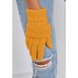 Zimní pletené rukavice v oranžové barvě (F05-63) velikost: univerzální, odstíny barev: oranžová