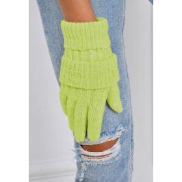 Zimní pletené rukavice v zelené barvě (F05-69) velikost: univerzální, odstíny barev: zelená