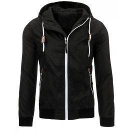 Pánská černá bunda jaro/podzim (tx1559)/170408-C6 velikost: L, odstíny barev: černá