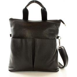 Moderní černá kožená taška Mazzini (s148a) Velikost: univerzální