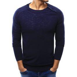 BASIC Pánský tmavě modrý svetr s knoflíky na ramenou (wx1003) Velikost: L
