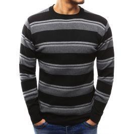 BASIC Pánský černý pruhovaný svetr (wx1012) velikost: M, odstíny barev: černá