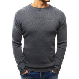 BASIC Pánský šedý jednoduchý svetr (wx1018) velikost: XL, odstíny barev: šedá