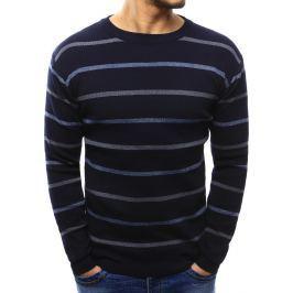 BASIC Modrý pruhovaný svetr (wx1022) velikost: M, odstíny barev: modrá