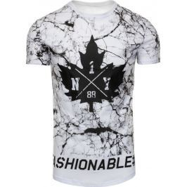 BASIC Pánské bílé tričko s potiskem (rx2227) velikost: L, odstíny barev: bílá