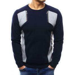 BASIC Pánský modrý svetr (wx1026) velikost: M, odstíny barev: modrá