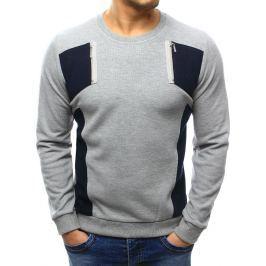 BASIC Pánský šedý svetr (wx1027) velikost: M, odstíny barev: šedá