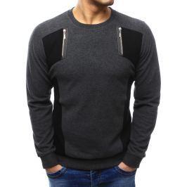 BASIC Pánský tmavě šedý svetr (wx1028) velikost: M, odstíny barev: šedá